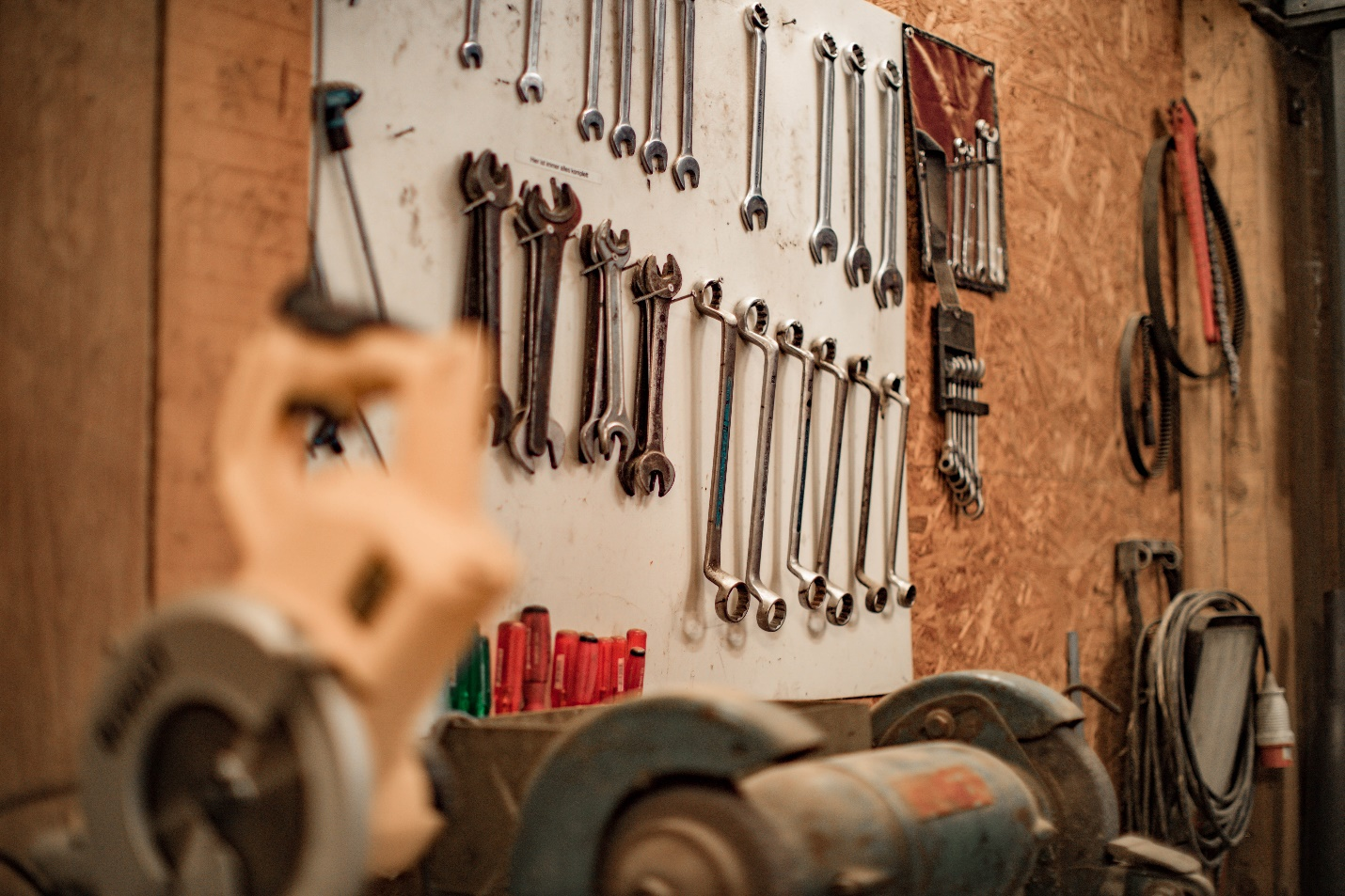 Professional hand tools hanging on the wall