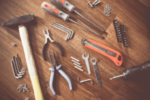 Professional hand tools on the table